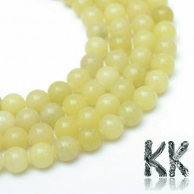 Natural Yellow Topaz - Dyed Round Beads - Ø 8 - 9 mm, Hole: 1 mm