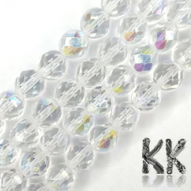 Czech Crystal Glass - Semi-Plated Faceted Round Beads - Ø 8 mm, Hole: 1 mm