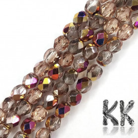 Czech Crystal Glass - Semi-Plated Faceted Round Beads - Ø 6 mm, Hole: 1 mm