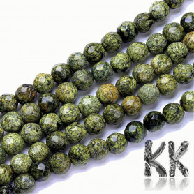Natural Serpentine - Faceted Round Beads - Ø 6 mm, Hole: 1 mm