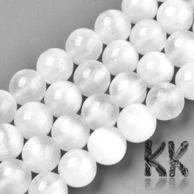 Natural Selenite - Round Beads - Ø 8 mm, Hole: 1 mm, Grade AAA