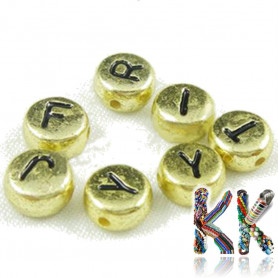 Beads with letters - random mix - ∅ 7 x 4 mm - 50 g (approx. 350 pcs)