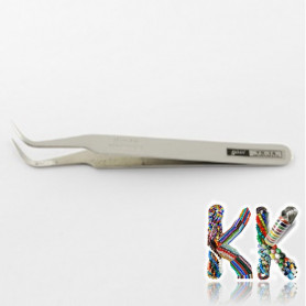Stainless steel tweezers - curved with tip - 115 x 9 x 4 mm