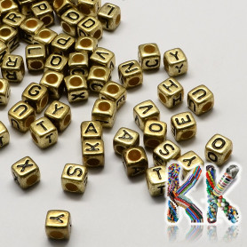 Beads with letters - mix - ∅ 7 x 4 mm - 50 g (approx. 350 pcs)