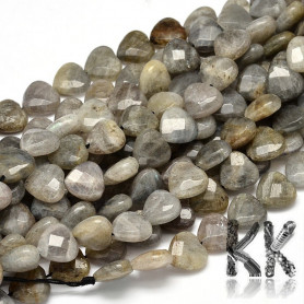 Natural Labradorite Beads - Faceted Heart - 10 x 10 x 5 mm, Hole: 1 mm