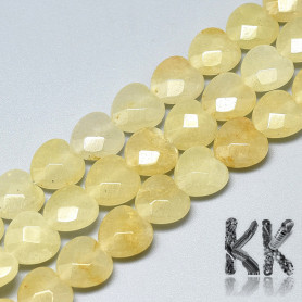 Natural Yellow Topaz - Faceted Heart Beads - 10 x 10 x 5 mm, Hole: 1.2 mm