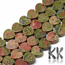 Natural Unakite - Heart Beads - 10 x 10 x 5 mm, Hole: 1.5 mm
