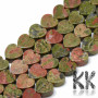 Heart-shaped beads made of natural mineral unakite, in size 10 x 10 x 5 mm and with a hole for a thread with a diameter of 1.5 mm. The beads are absolutely natural without any dye. Country of origin: Australia, United States, Brazil, South Africa, China THE PRICE IS FOR 1 PCS.