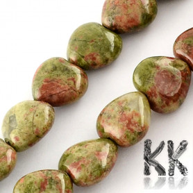 Natural Unakite - Heart Beads - 10 x 10 x 5 mm, Hole: 1 mm