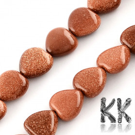Synthetic Goldstone - Heart Beads - 10 x 10 x 5 mm, Hole: 1 mm