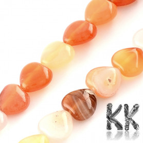 Natural Red Agate - Dyed Heart Beads - 10 x 10 x 5 mm, Hole: 1 mm