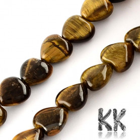 Natural Tiger Eye - Heart Beads - 10 x 10 x 5 mm, Hole: 1 mm