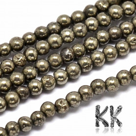 Natural Pyrite - Round Beads - Ø 3 mm, Hole: 0.8 mm