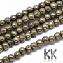 Tumbled stones in the shape of round beads from mineral pyrite with a diameter of 3 mm and a hole for a thread with a diameter of 0.8 mm. Beads are absolutely natural without any dye. Country of origin: China, Africa THE PRICE IS FOR 1 PCS.