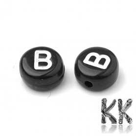 Acrylic Beads with Letters - Black Lentils with White Text - Ø 7 x 4 mm, Hole: 1,5