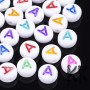 Beads with letters made of acrylic material with a diameter of 7 mm, a height of 4 mm and a hole for a thread with a diameter of 1.2 mm. The beads have the shape of lentils, white color and the letters on them are in a mix of colors. The item is offered for sale in a random mix of colors. If you prefer specific color, please write it in a note and if possible, we will try to accommodate you. When buying more than 10 pieces from one letter, however, we do not allow the choice of color due to time constraints. THE PRICE IS FOR 1 PCS.