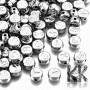 CCB Acrylic Beads with letters - Platinum Color Plated mix of Lentils - Ø 7 x 4 mm - 50 g (approx. 320 pcs)