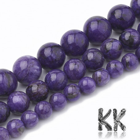 Natural Chalcedony - Imitation Charoite - Dyed Round Beads - Ø 6-7 mm, Hole: 1 mm