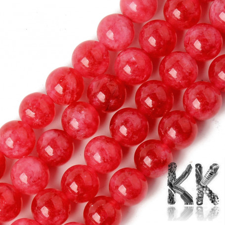 Natural Chalcedony - Imitation Rhodochrosite - Dyed & Heated Round Beads - 8.5 x 8 mm, Hole: 1,2 mm