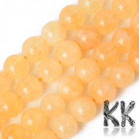 Natural Chalcedony - Imitation Citrine - Dyed & Heated Round Beads - 8.5 x 8 mm, Hole: 1,2 mm