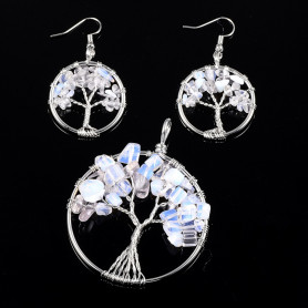 Jewelry set made of 304 stainless steel - Pendant and earrings with trees of life made of opal