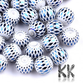 Electroplated opaque glass round beads - with rhombus pattern - Ø 8-8.5 mm, Hole: 1.5 mm