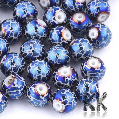 Electroplated opaque glass round beads - with a crackle pattern - Ø 8-8.5 mm, Hole: 1.5 mm