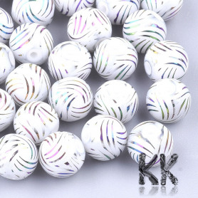 Electroplated opaque glass round beads - with a stripe pattern - Ø 8-8.5 mm, Hole: 1.5 mm