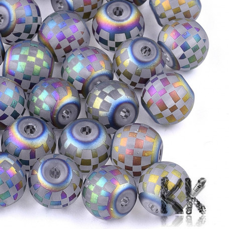 Electroplated transparent frosted glass round beads - with tartan decor - Ø 8-8.5 mm, Hole: 1.5 mm