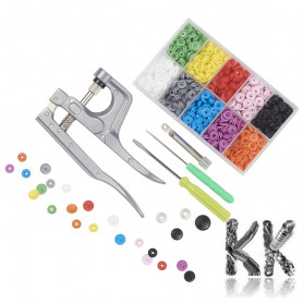Plastic Snap Buttons Kit, Press Studs with Open Ring Prongs and Socket in Box with Pliers