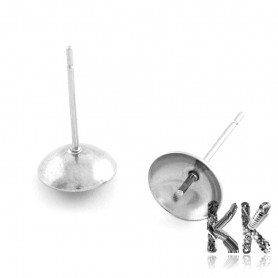 201 Stainless Steel Stud Earring Findings for Semi-Drilled Beads- Ø 4 mm (1 pair)