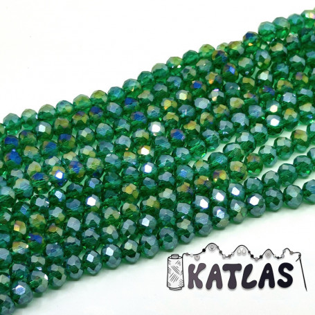 Transparent Faceted Glass Beads - AB Color Plated Rondelle - Ø 6 x 5 mm - Strand (approx. 92-94 pcs)