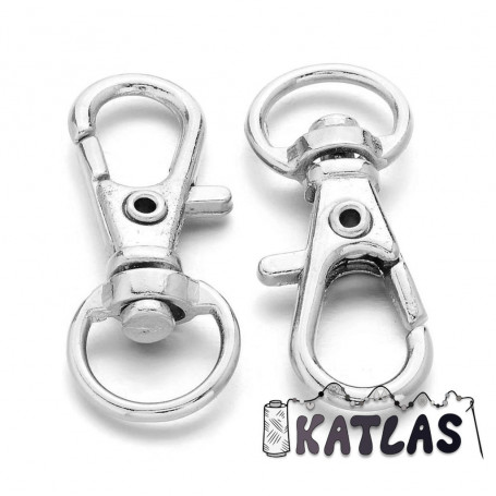 Zink Alloy Swivel Lobster Claw Clasps - 32 x 11 mm, Hole: 5 x 10 mm
