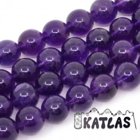 Natural Amethyst - Round Beads - Ø 8 mm, Hole: 1 mm - Grade AA +
