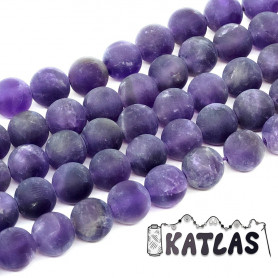 Natural Frosted Amethyst - Round Beads - Ø 8 mm, Hole: 1 mm