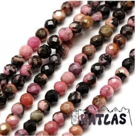 Natural Rhodonite - Faceted Round Beads - Ø 2 mm, Hole: 0.8 mm
