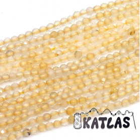 Natural Citrine - Faceted Round Beads - Ø 2 - 2.5 mm, Hole: 0.5 mm
