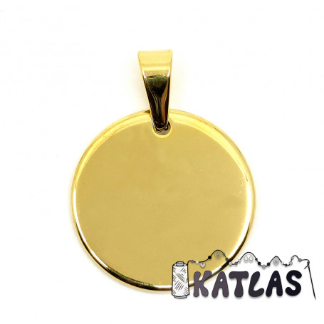 304 Stainless Steel Pendant - Plated Flat Round - Ø 25 x 1.5 mm - 2nd GRADE