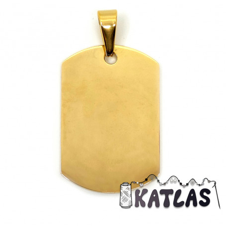 304 Stainless Steel Pendant - Plated Rectangle - 35 x 23 x 1.5 mm, Hole: 10 x 4.5 mm - 2nd GRADE