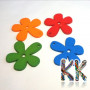 Carved wooden pendant with a smoothly cut and painted surface in the shape of a flower.THE PRICE IS FOR 1 PCS.