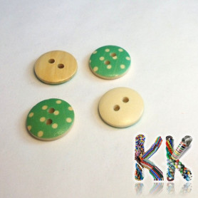 Wooden button - with polka dots - ∅ 15 x 4 mm
