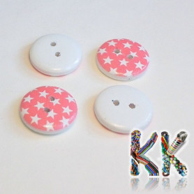 Wooden knob - with stars - ∅ 15 x 4 mm