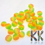 Stone resin cabochons with a diameter of 8 mm and a height of 3.5 mm. Cabochons have a hemispherical shape and a flat flat edge for gluing to a bed or slipper.THE PRICE IS FOR 1 PCS.