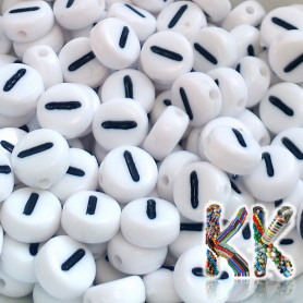 Beads with numbers - white smarties with black text - ∅ 7 x 4 mm
