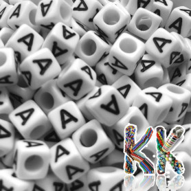 Beads with letters - white cubes with black text - 6 mm