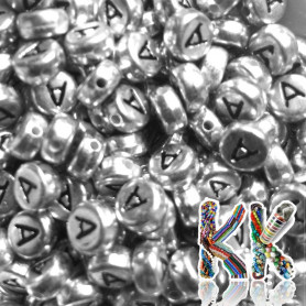 Beads with letters - silver lentils with black text - ∅ 7 x 4 mm