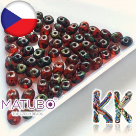 MATUBO™ SUPERDUO - travertinový dekor - 2,5 x 5 mm