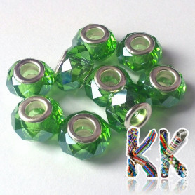 Bead with wide thread - cut roundel - ∅ 14 x 8 mm